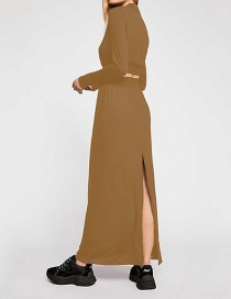 Fashion Khaki Round Neck Crop Top + Skirt Two-piece Suit