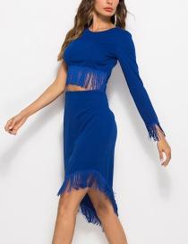 Fashion Blue Tassel Irregular Umbilical Dress