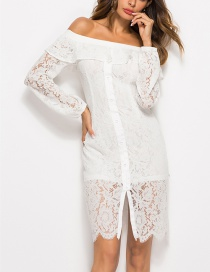 Fashion White Lace Off-the-shoulder Cutout Ruffled Collar Dress