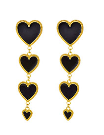 Fashion Black Alloy Four Love Earrings
