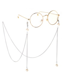 Fashion Silver Alloy Pearls Do Not Fade Glasses Chain