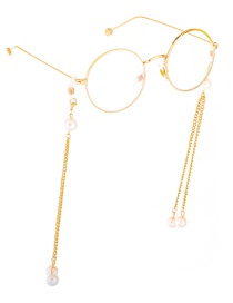 Fashion Gold Pearl Chain Double Buckle Glasses Chain