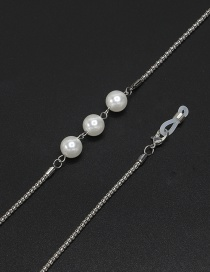 Fashion Silver Hollow Hanging Neck Pearl Glasses Chain