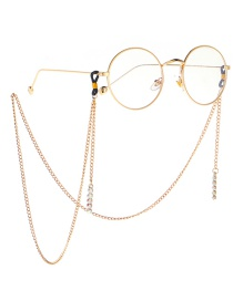 Fashion Gold Metal Diamond Ab Color Glasses Chain