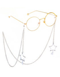 Fashion Silver Metal Color Protection Five-star Key Glasses Chain