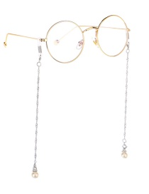 Fashion Silver Wings Hanging Chain Pearl Chain Double Buckle Glasses Chain