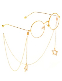 Fashion Gold Metal Five-star Pearl Glasses Chain