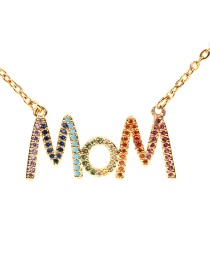 Fashion Gold Mom Letter Studded Zircon Necklace