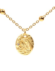 Fashion Gold Matte Virgin Mary Zirconium Necklace