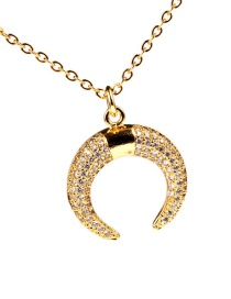 Fashion Gold Crescent Gold-plated Micro-inlaid Horn Necklace