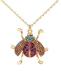 Fashion Gold Ladybug Stainless Steel Color-protected Copper And Zircon Necklace