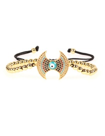 Fashion Gold Micro-inlaid Zircon Drop Oil Eye Color Solid Copper Bead Bracelet