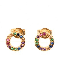 Fashion Gold Openwork Circle Zircon Earrings