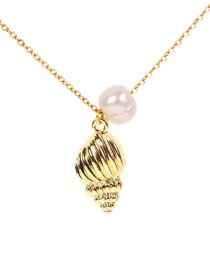 Fashion Gold Gold-plated Conch Pearl Titanium Steel Necklace