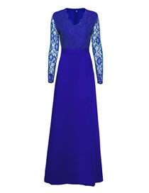 Fashion Blue Solid Color Lace Dress