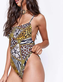 Fashion Leopard Stitching Tube Top Snake Skin One-piece Swimsuit