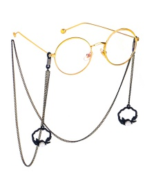 Fashion Black Hang Neck Pearl Flower Basket Chain Glasses Chain