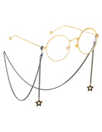 Fashion Black Hanging Neck Five-pointed Star Does Not Fade Chain Glasses Chain