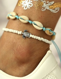 Fashion White Turtle Shell Beads Push-pull Anklet 2 Piece Set