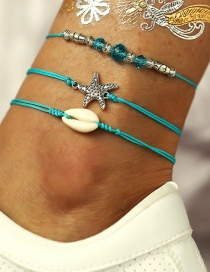 Fashion Blue Starfish Shell Blue Beads Anklet Three-piece