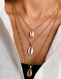 Fashion Gold Geometric Shell Conch With Gold-rimmed Clavicle Chain