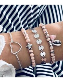 Fashion Pink + Silver Shell Sequin Bead Chain Tassel Bracelet Four-piece