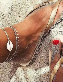 Fashion Silver Shell Fringed Double-layered Anklet