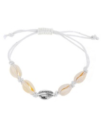 Fashion Silver Natural Alloy Phase Shell Weaving Knotted Bracelet