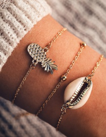 Fashion Gold Pineapple Shell Bead Chain Bracelet Three-piece