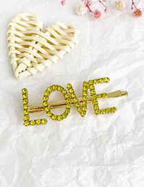 Fashion Yellow Alloy Diamond Letter Love Word Hairpin