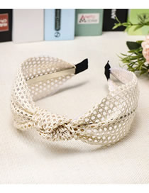 Fashion Creamy-white Mesh Knotted Wide-brimmed Lace Headband