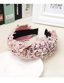 Fashion Pink Lace Embroidered Openwork Fabric Wide-brimmed Pearl Headband