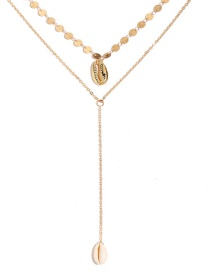 Fashion Gold Y-shaped Double Shell Necklace