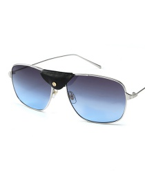 Fashion Silver Frame On Gray Under Blue Leather Sunglasses
