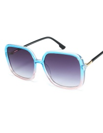Fashion On The Blue Under The Powder Frame Double Gray Sunglasses