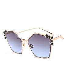 Fashion Blue Gray Embellished With Irregular Sunglasses