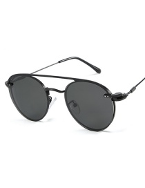 Fashion Black Frame Black Gray Piece Outer Ring Polarized Inner Ring Flat Mirror