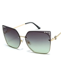 Fashion Gold Frame Gray Green Large Framed Diamond Sunglasses