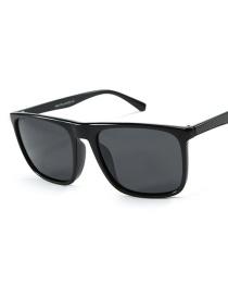 Fashion Bright Black Frame Full Gray Outside Riding Sunglasses