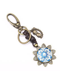 Fashion Bronze Sun Flower Alloy Leather Glass Keychain