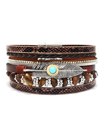 Fashion Brown Feather Stone Multi-layer Leather Bracelet