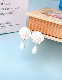 Fashion White S925 Silver Needle Drop Shell Pearl Earrings