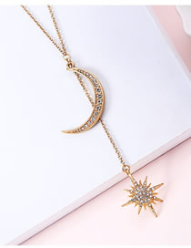 Fashion Gold Star: Moon And Diamond Necklace