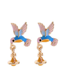 Fashion Gold S925 Silver Needle Dripping Hummingbird Earrings