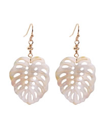Fashion White Openwork Leaf Shell Earrings
