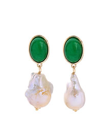 Fashion Green Pearl Natural Stone Earrings