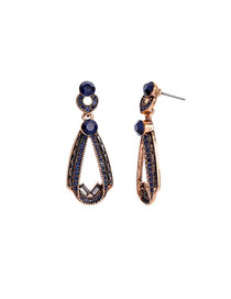 Fashion Blue Drop Ear Gemstone Diamond Earrings