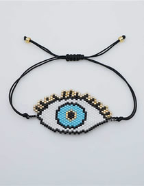 Fashion Black Rice Beads Woven Eye Bracelet