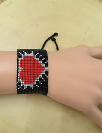 Fashion Red + Black Antique Rice Beads Woven Bracelet