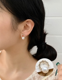 Fashion Main Color (s9 Ear Stud) S925 Silver Needle Circle Imitation Pearl Full Diamond Earrings